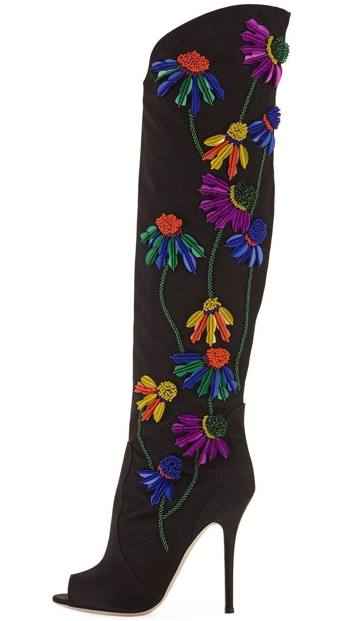 Giuseppe Zanotti Floral-Embroidered Peep-Toe Satin Boot R5ptm