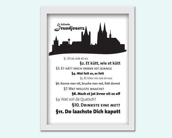 Das kölsche Grundgesetz, Typography Print zum drucken / download ...
