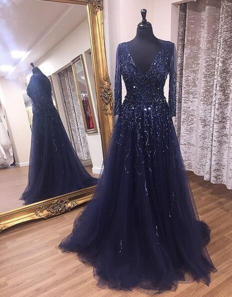 V-neck Beaded Long Prom Dress 8th Graduation Dress Custom-made School Dance Dress,AE266 #schooldancedresses