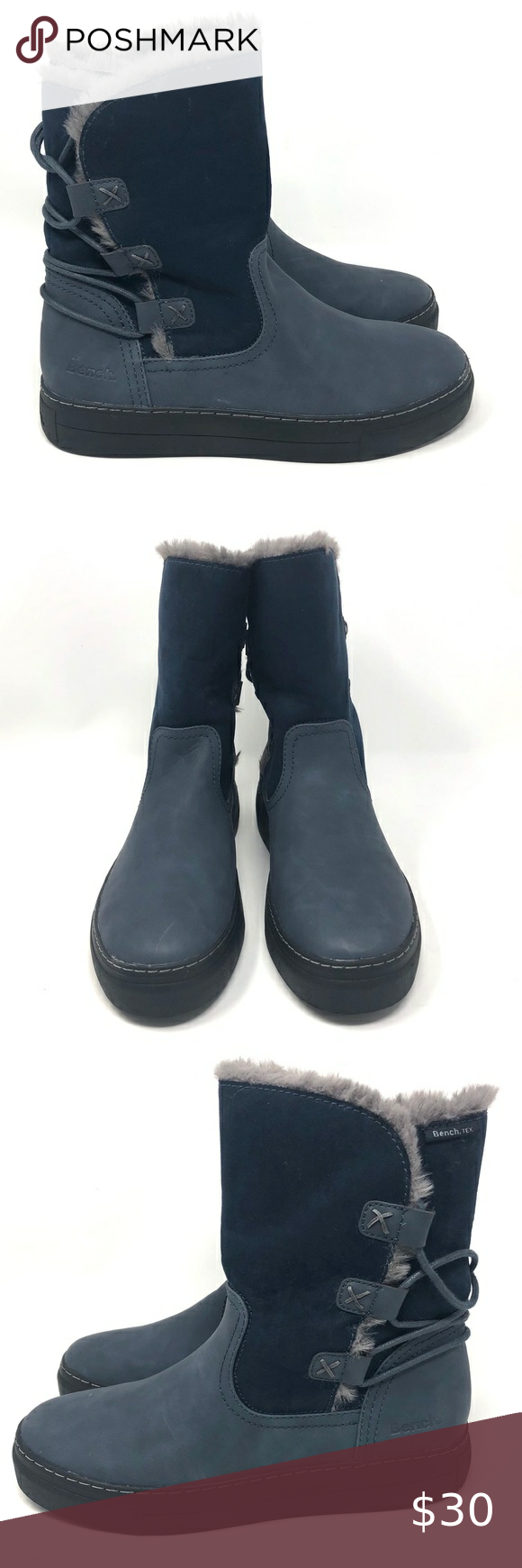 Bench Fur Line Lace Up Winter Boot Blue Womens 39 In 2020 Boots Winter Boot Shoe Laces