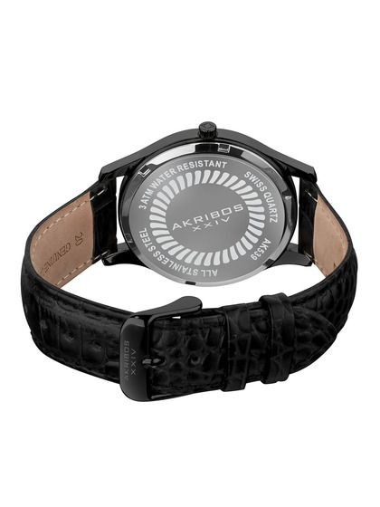 Men's Black Round Watch by Akribos XXIV at Gilt