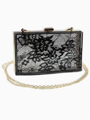 Black Transparent Clutch Bag with Lace Panel and Matallic Chain | DIY inspo
