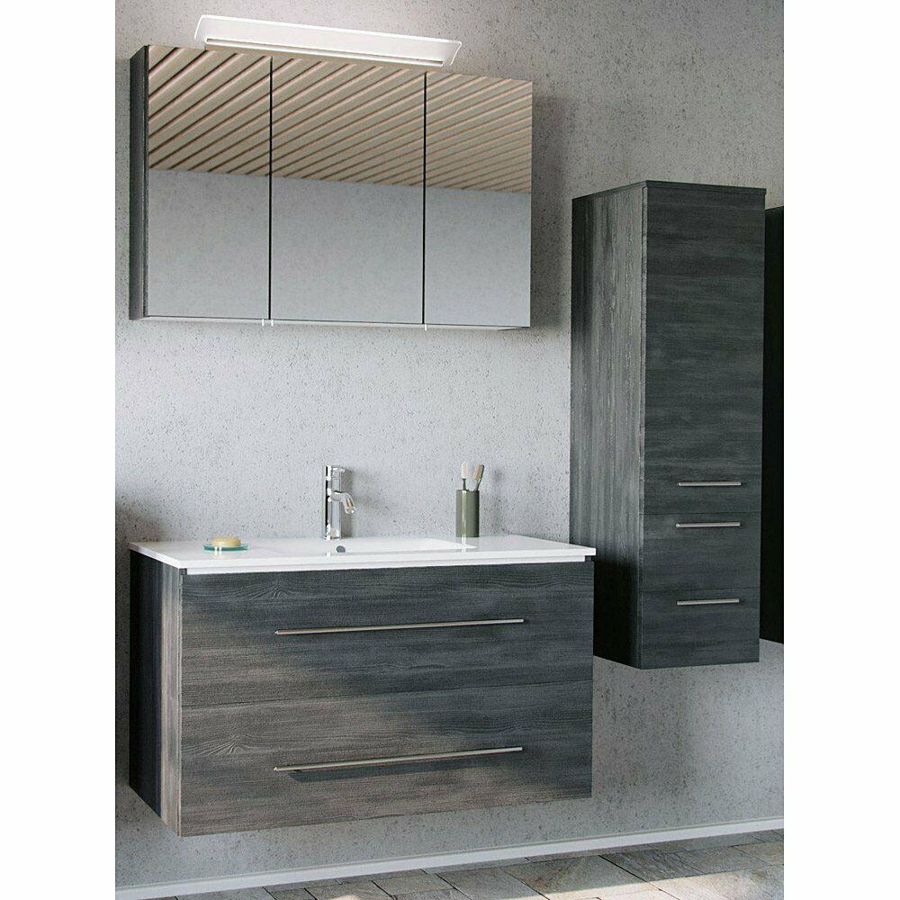 Badmobel Badezimmer Set Graphit 100cm Waschtisch Led Spiegelschrank Hochschrank Ebay In 2020 Badezimmer Komplett Badezimmer Keramik Badezimmer Set