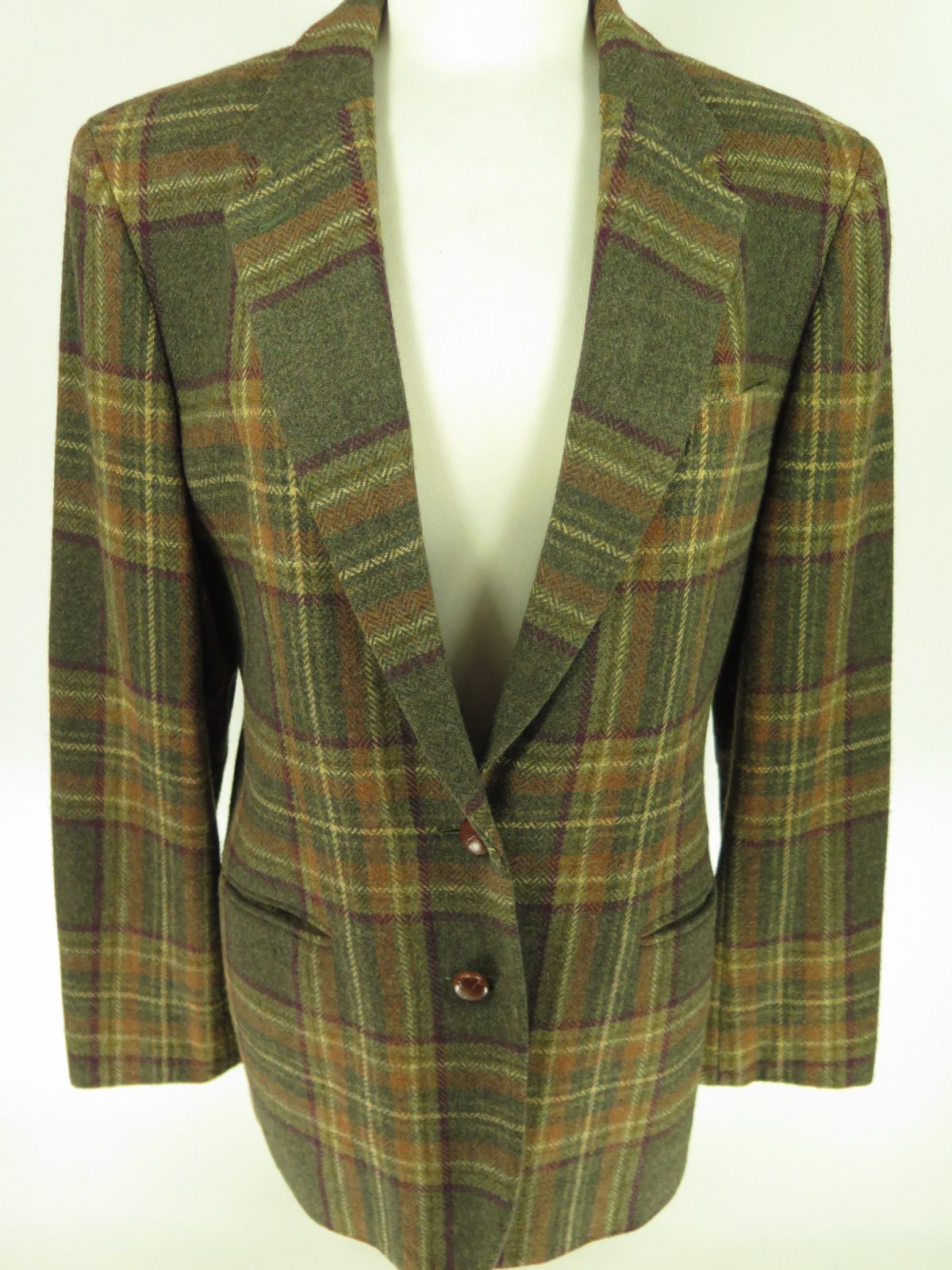 cb8c5bc9f44abf Vintage Ralph Lauren Plaid women's 2 leather knot button blazer with  leather elbow pads. Find more men's and women's authentic vintage clothing  at ...