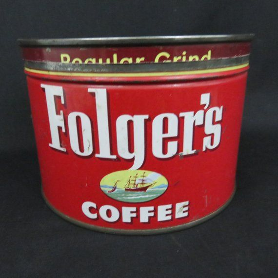 Metal 1952 Folgers Coffee Can With Original Keywind Lid And Ship Graphics Regular Grind