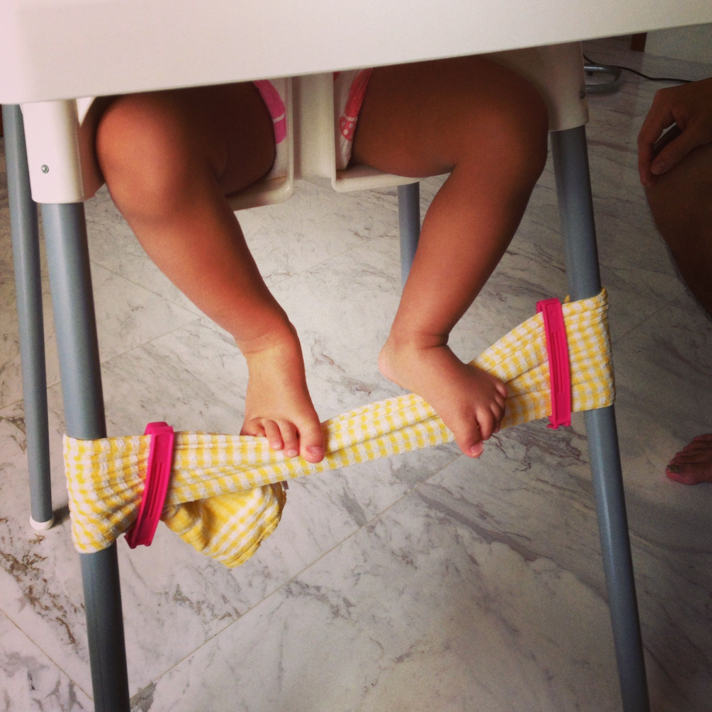 DIY Foot Rest for Ikea Antilop High Chair - secure the ends of a dish towel