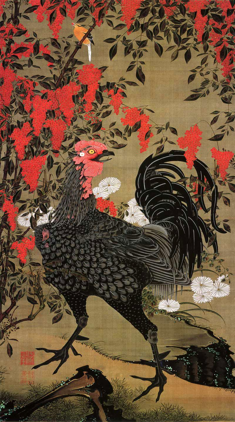 Chicken - Jakuchu Triptych, 18th century Japanese artist