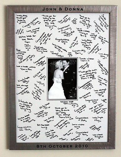 Gran grabado personalizado enmarcado invitado firma Junta boda bebé | … – ideas de boda