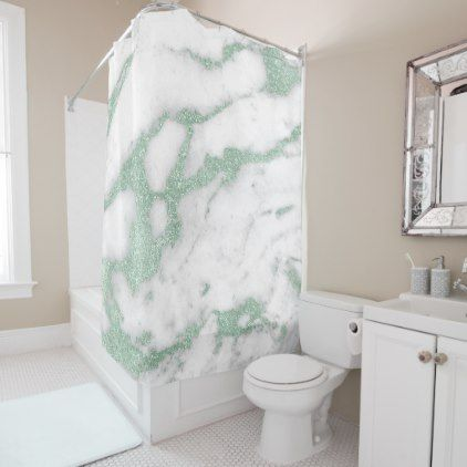 Marble Stone Abstract White Gray Mint Green Pastel Shower Curtain