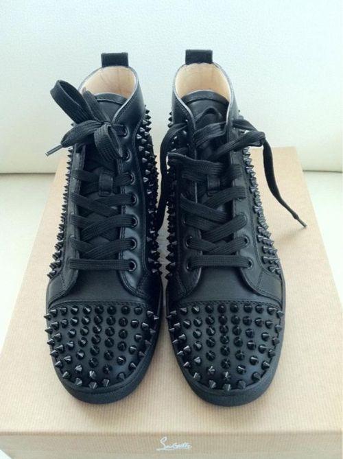 50f957fb70f Christian Louboutin all black spike sneakers  UNF