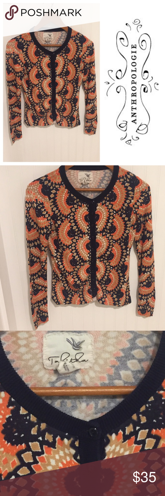 """Anthropologie Tabitha printed cardigan sweater S Size Small.  (36"""" chest, 22"""" length). Worn a few times. 100% cotton. Navy and orange print. In excellent condition. See my closet for more great designer items. 15% off a bundle of 3 or more listings. Sorry, no trades! Anthropologie Sweaters Cardigans"""