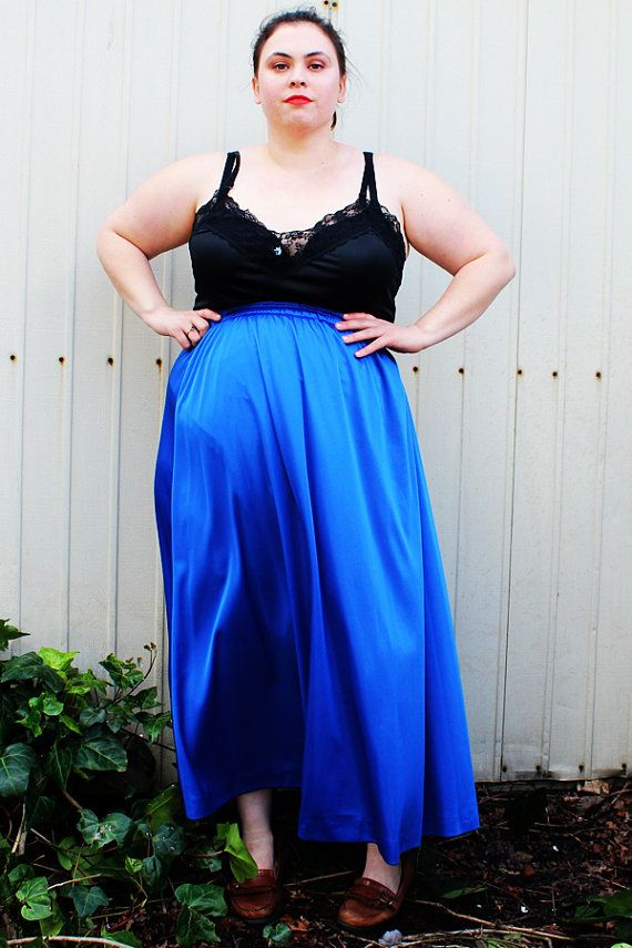 b6b4b47d3da9f Plus Size Vintage Royal Blue Full Maxi Skirt Size by TheCurvyElle ...