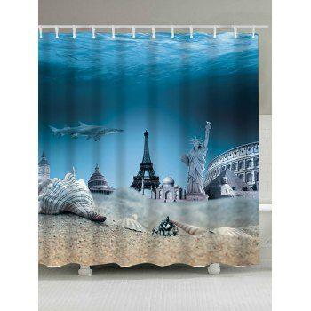 Eiffel Tower Statue Of Liberty Shark Shower Curtain Shark Shower