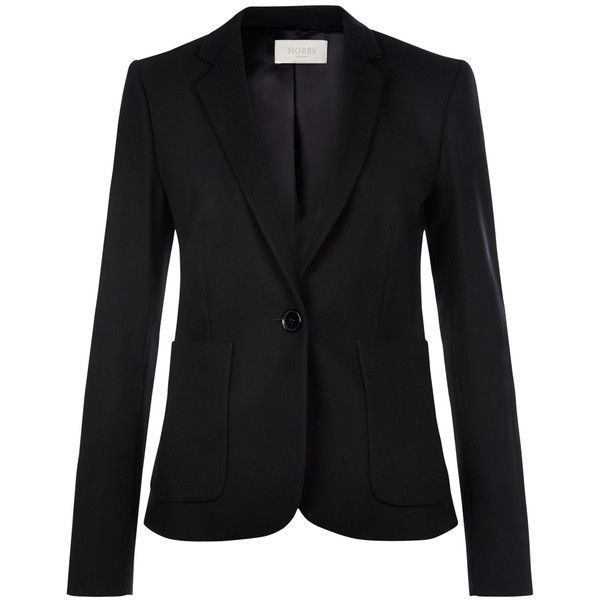 Hobbs Gael Jacket, Black (750 BRL) ❤ liked on Polyvore featuring outerwear, jackets, hobbs, short tailored jacket, print jacket, collar jacket and tailored jacket