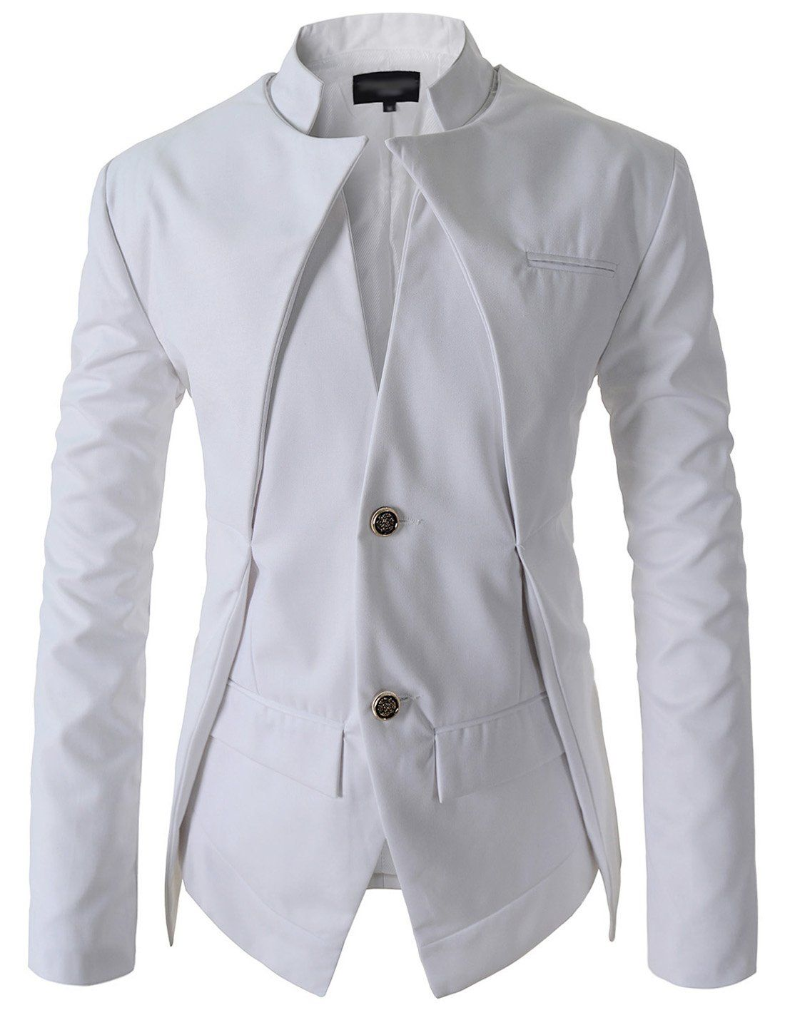 Showblanc(SBNJK7) Man s Chinese Collar Double Layered 2 Button Casual  Jacket WHITE Medium(US Small) b229ca2d89522