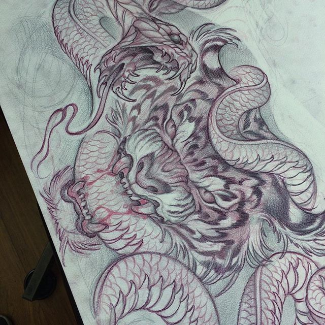 Sketch For A Japanese Sleeve: Tiger/cobra Sketch For A Chest Piece.. #powerlinetattoo