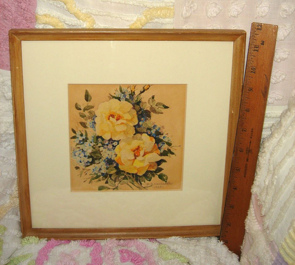 ANTIQUE 1944 FRENCH COUNTRY WATERCOLOR YELLOW ROSES GLASS FRAMED ...