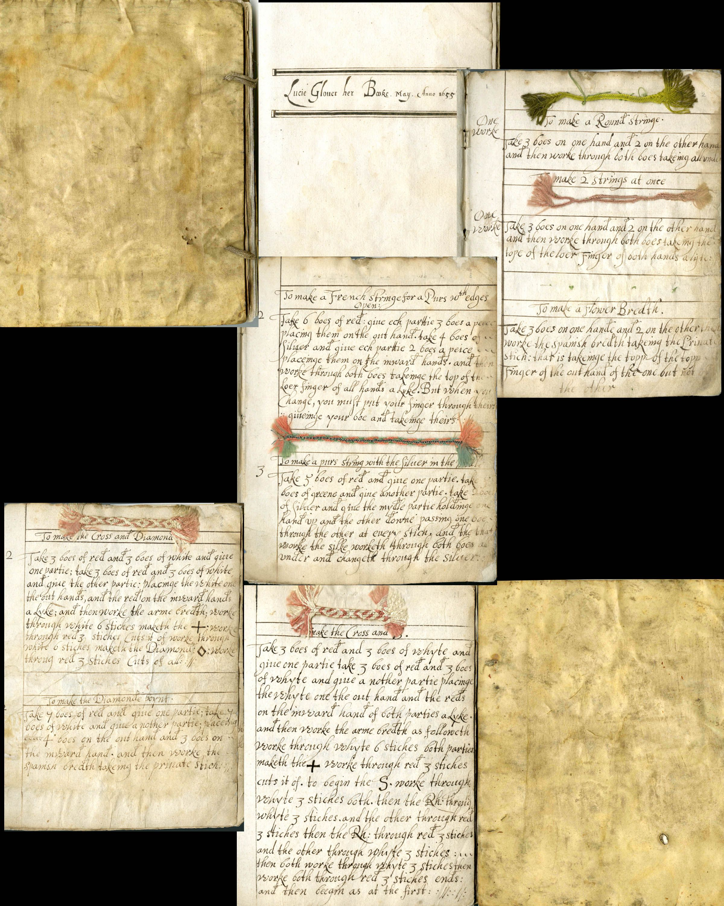 Lucie Glover's manuscript of patterns for purse strings and braid. Manuscript book of patterns for purse strings and braid. (Blank pages not included). Signed and dated 1655 Dimensions: Overall: 7 5/16 x 6 x 5/16 in. (18.5 x 15.3 x 0.8 cm) Credit Line: Harris Brisbane Dick Fund, 1944 Accession Number: 44.46