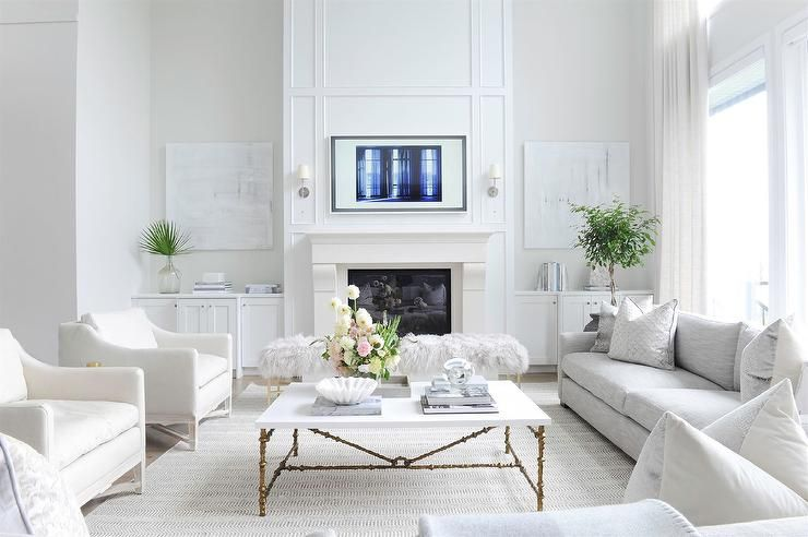 White Done Right Transitional Living Rooms White Accent Chair Living Room Grey