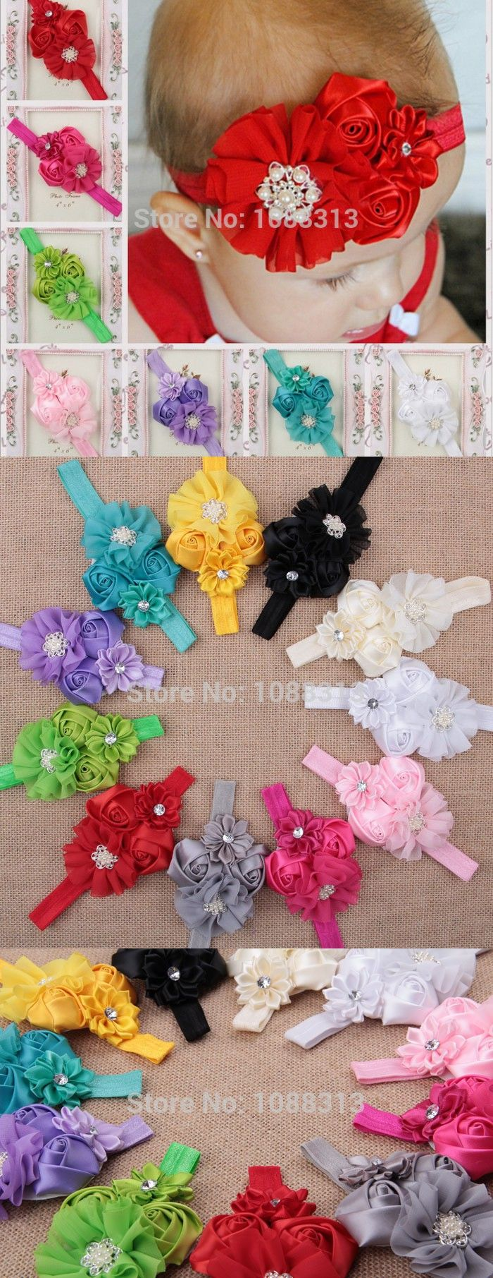 Chiffon satin ribbon rolled rose rhinestone pearl button flower decoration elastic baby headband.10pcs mix summer kids headwear.