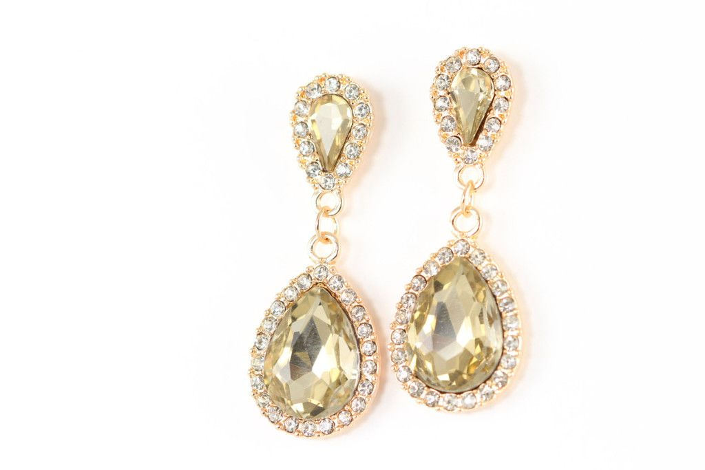 Prom Jewelry Crystal Earrings Gold - Rhinestone Jewelry - Champagne Crystals