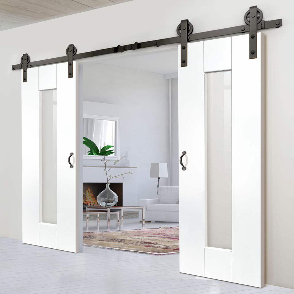 Double Sliding Door Track Axis White Doors Clear Glass Doors Interior Barn Doors Sliding Barn Style Sliding Doors