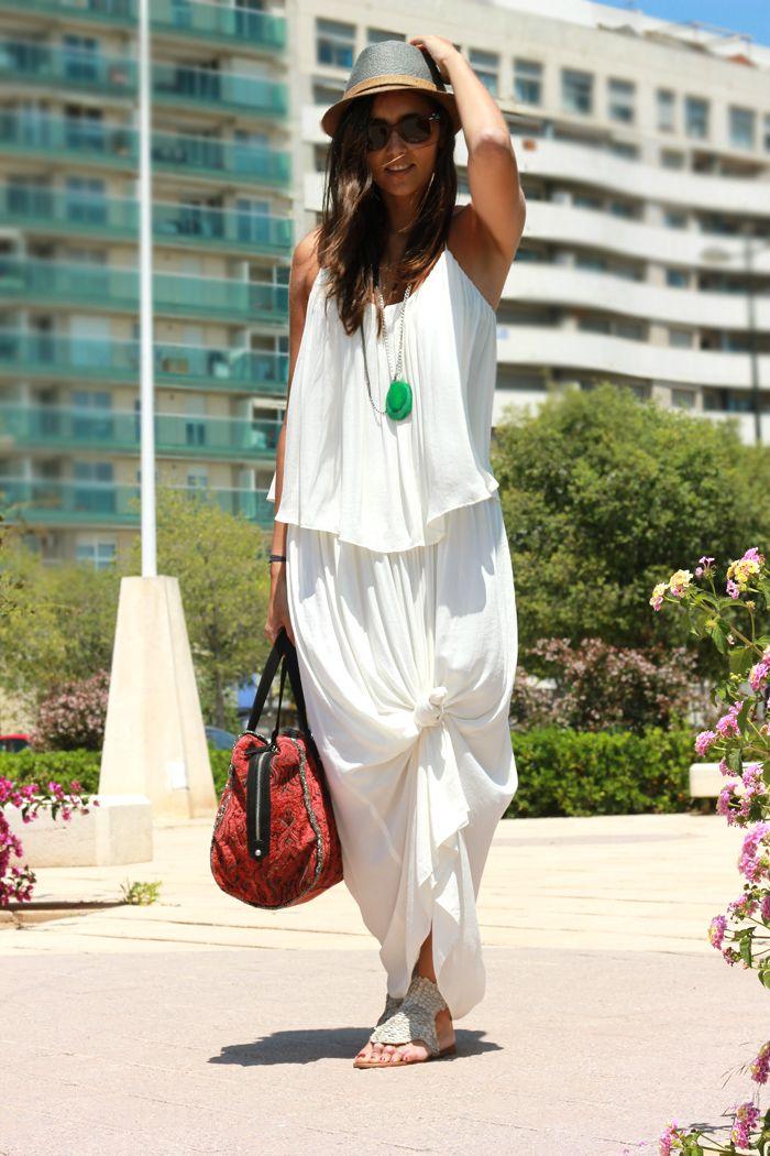Dress, Bag & Hat: Zara S/S 2013 | Necklace: Cutie Accesoris | COOHUCO - Boho / via Chicisimo