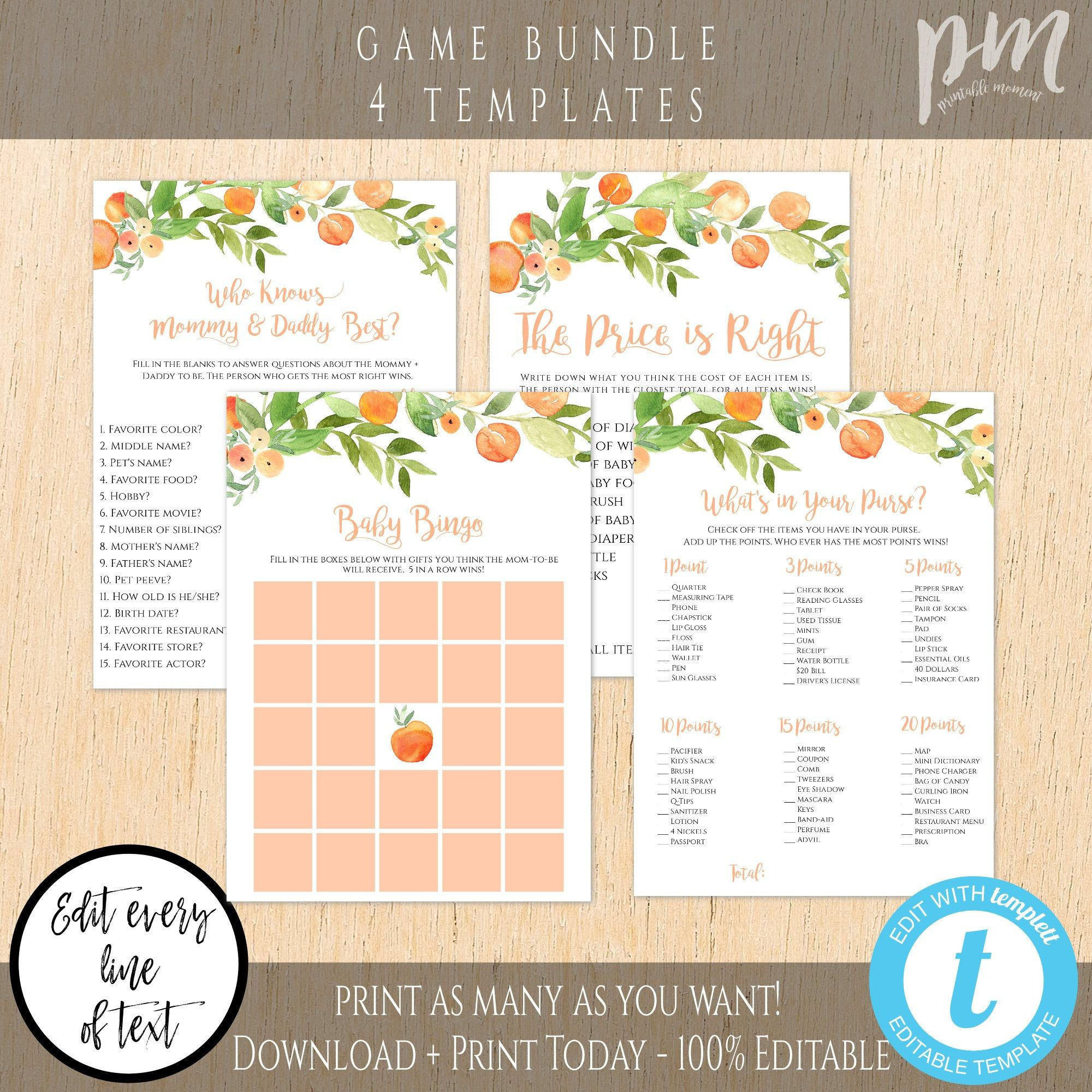 Sweet As A Peach Baby Shower Game Template Set Game Bundle Etsy In 2021 Peach Baby Shower Baby Shower Games Baby Shower