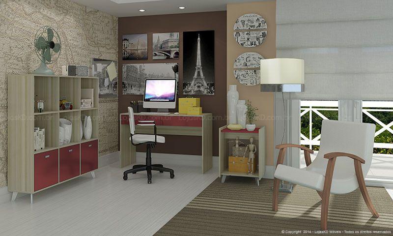 Conjunto Home Office com Estante, Mesa para Computador, Mesa de Canto, Cadeira e Poltrona �rtico/Bordo/Imbuia/Branco - Caaza