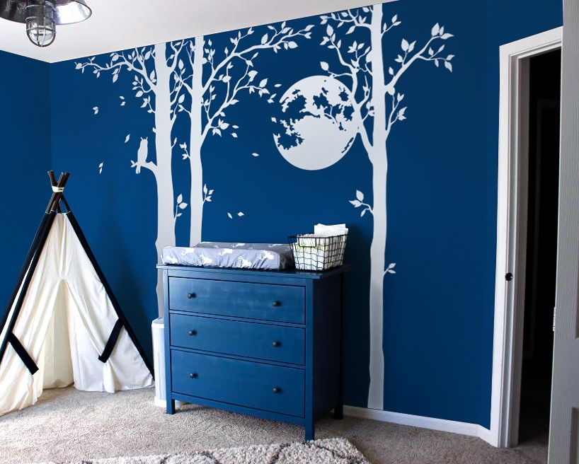 blue wall white long tree wall decal / choose the best design for