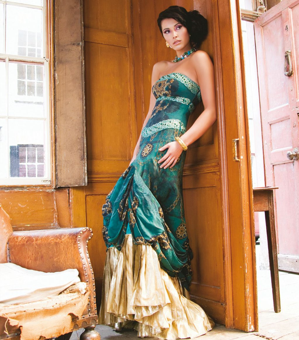South asian wedding dresses  wedding reception dressJade and Gold Dress  sona couture