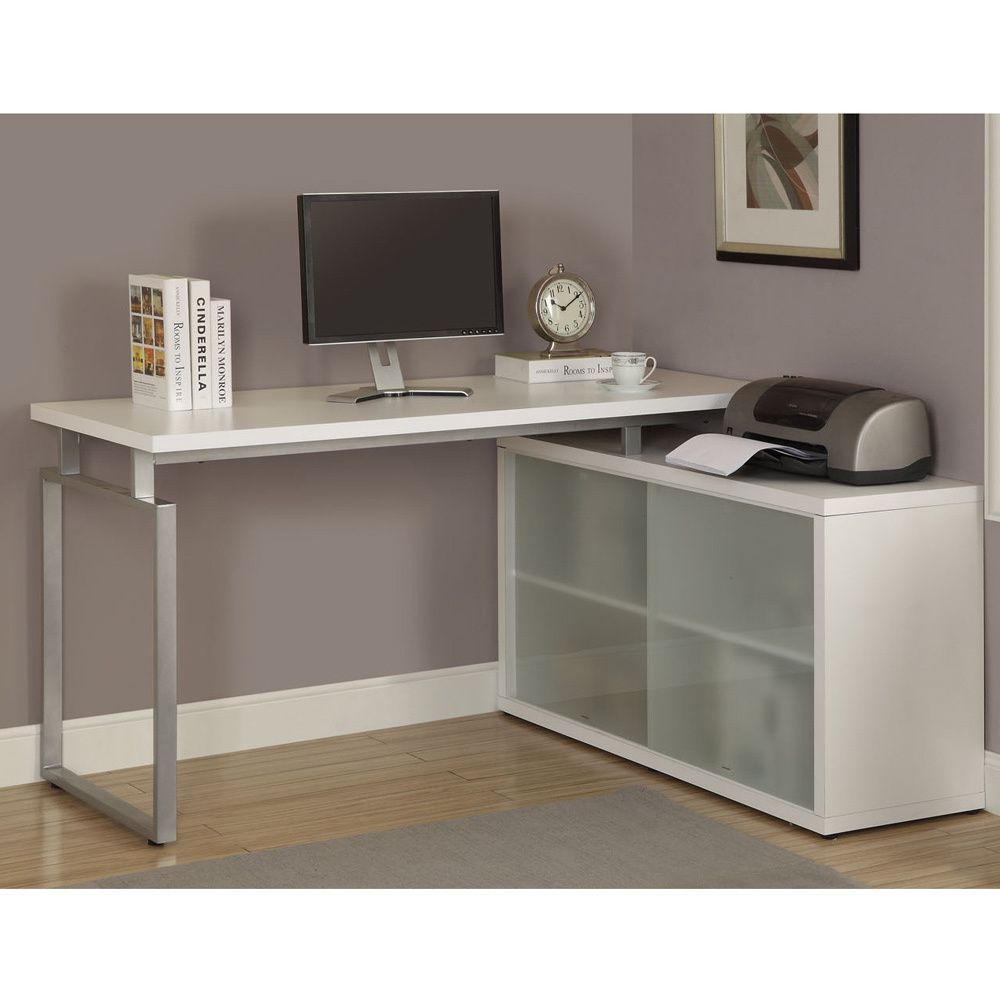 white l shaped desk with frosted glass office desks desks and