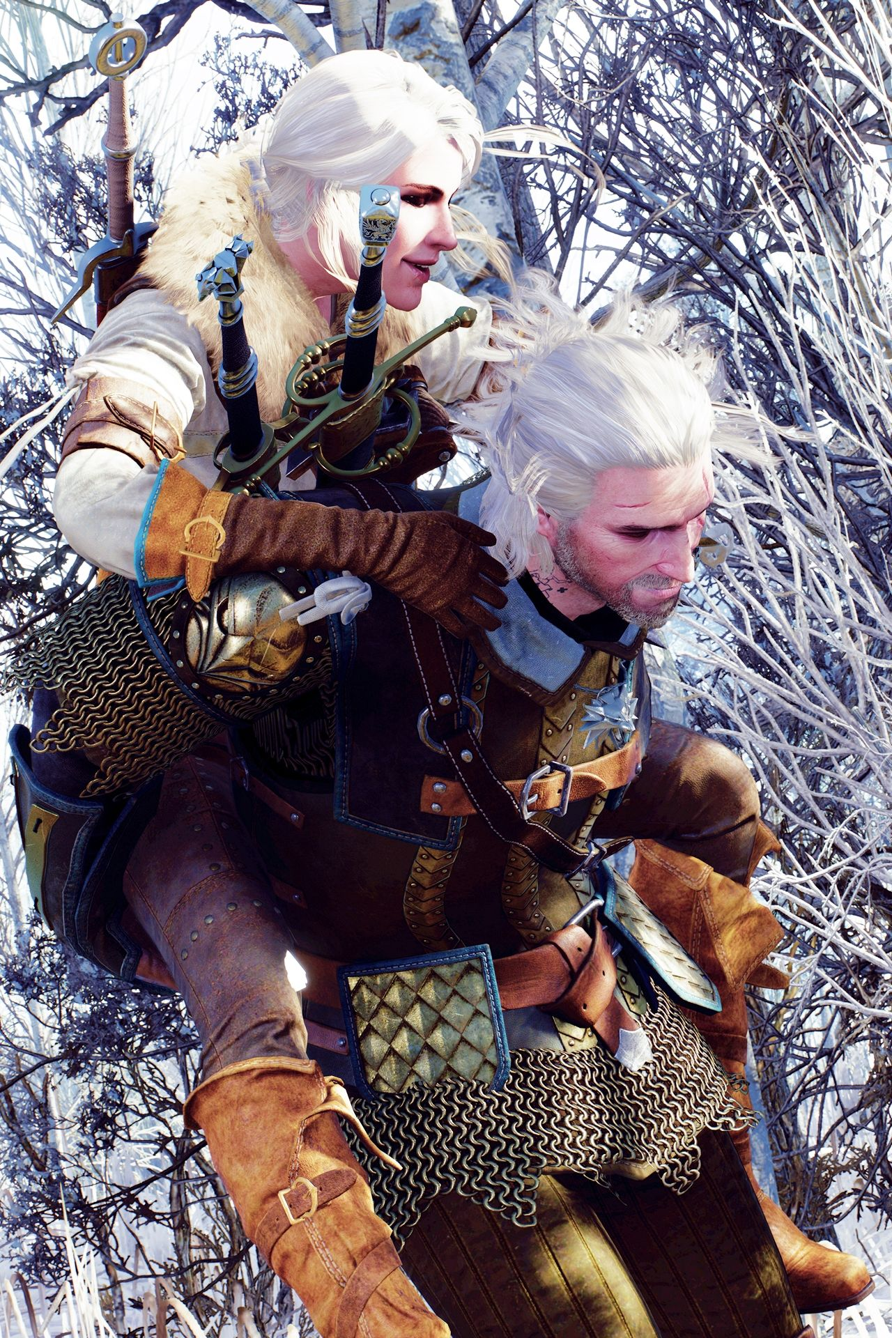 Image result for the witcher 3 geralt and ciri piggyback