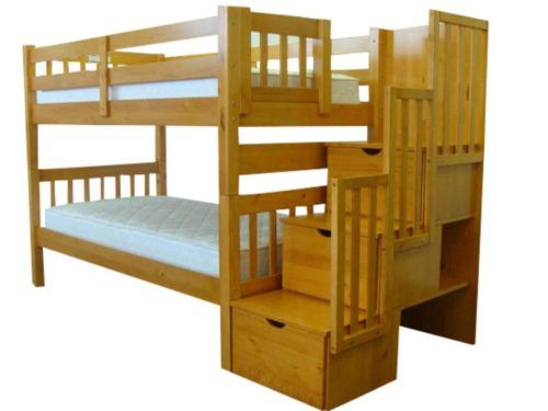 Honey Stairway Bunk Twin Over Twin Bed 3 Drawers By Bedz King Bunk
