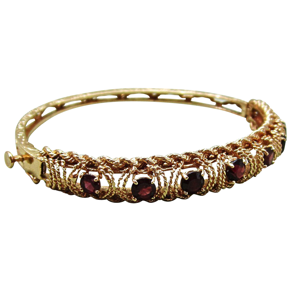 K gold garnet rope design hinged bangle bracelet original case