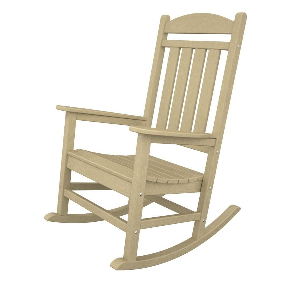Polywood Presidential White Patio Rocker R100wh The Home Depot Plastic Rocking Chair Rocking Chair Outdoor Rocking Chairs