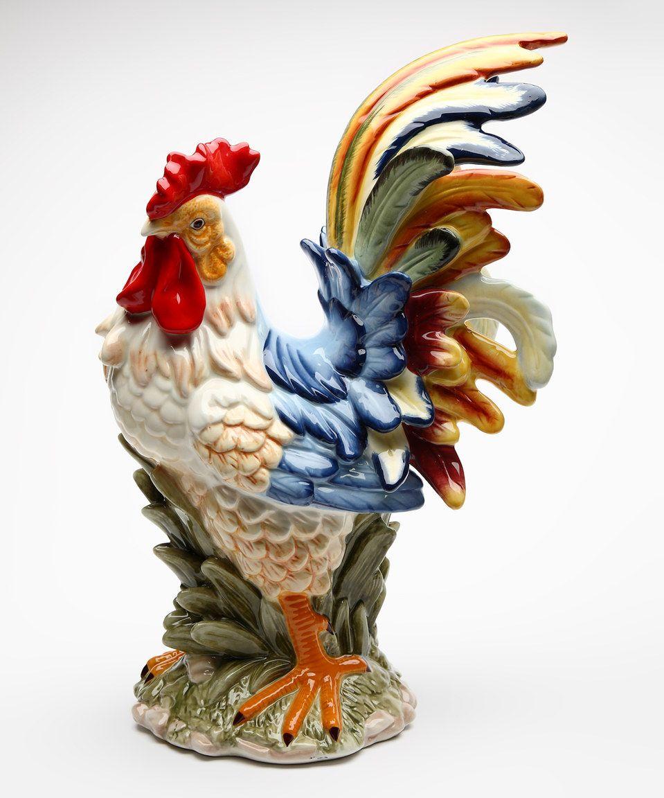 Large Ceramic Rooster Figurine
