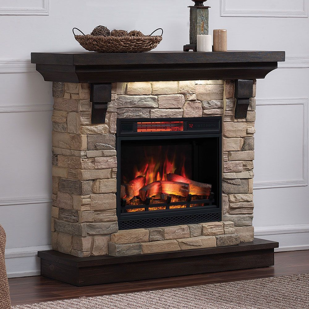 Eugene infrared electric fireplace mantel package in aged coffee