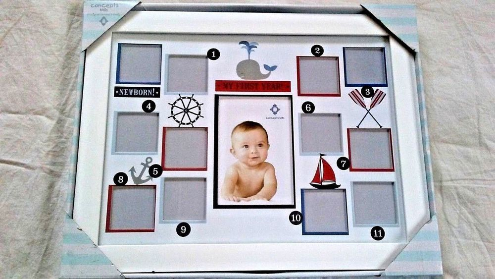 Concepts Kids My First Year Baby Photo Frame New In Box Nautical Whale Boat Conceptskids Baby Photo Frames Baby Photos Nautical Whale