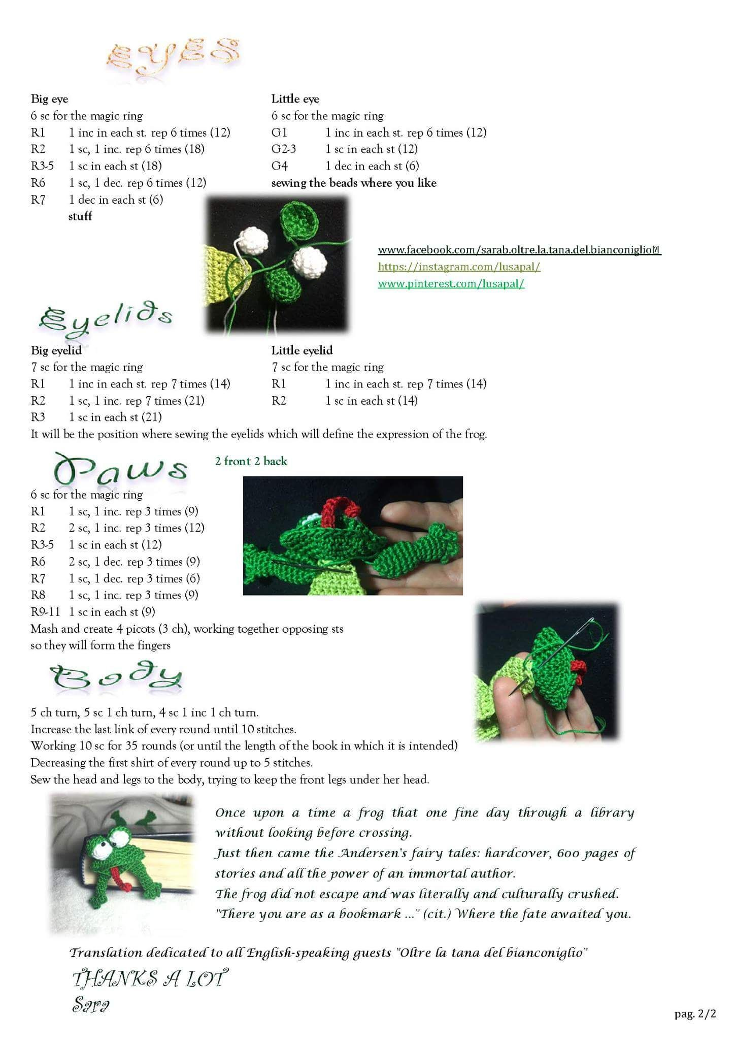 Sqashed Frog bookmark. | BOOKMARKS | Pinterest | Patrones amigurumi ...