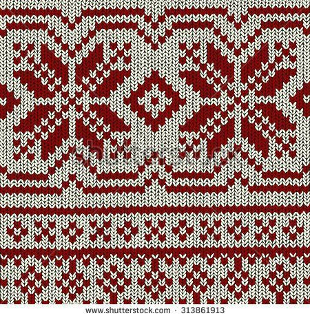 Norwegian Knitting Pattern With Crystal Stars In Red