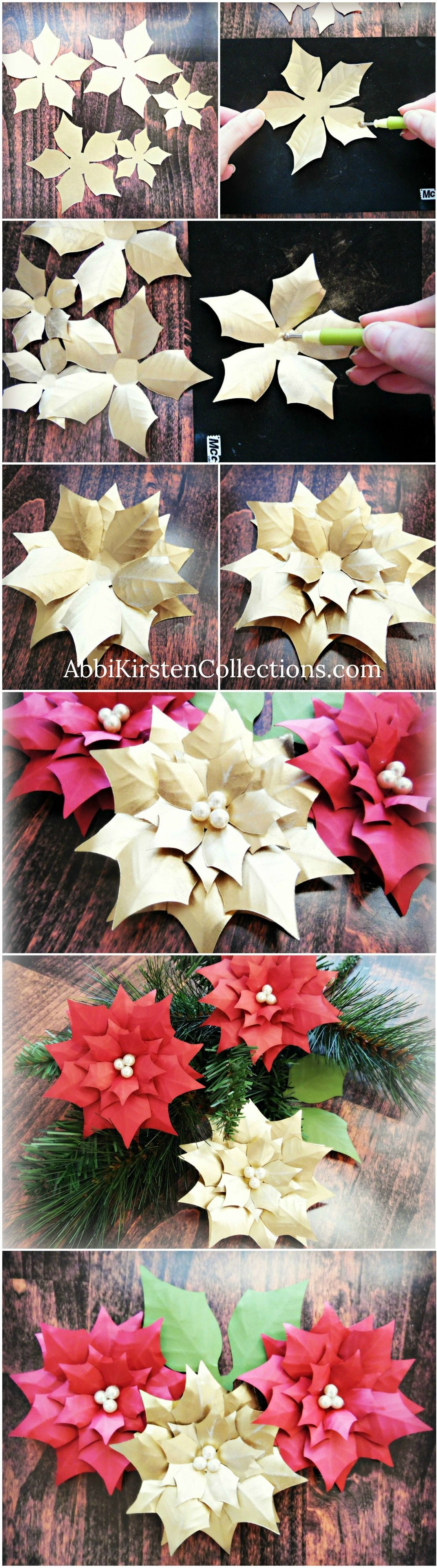Small Christmas paper poinsettia template and tutorial