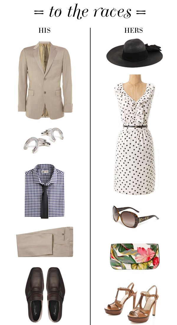 small shop: to the horse races, his & hers outfits, khaki suit, gingham dress shirt, horse shoe cuff links, black straw hat, polka dot dress, Gucci horse bit sunglasses, floral tropical clutch, KORS t-strap sandals