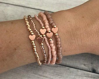 14k Rose Gold Heart Bracelet Set – Matching Jewelry Gift – Rose Gold Armbanden – Kristallen armbanden