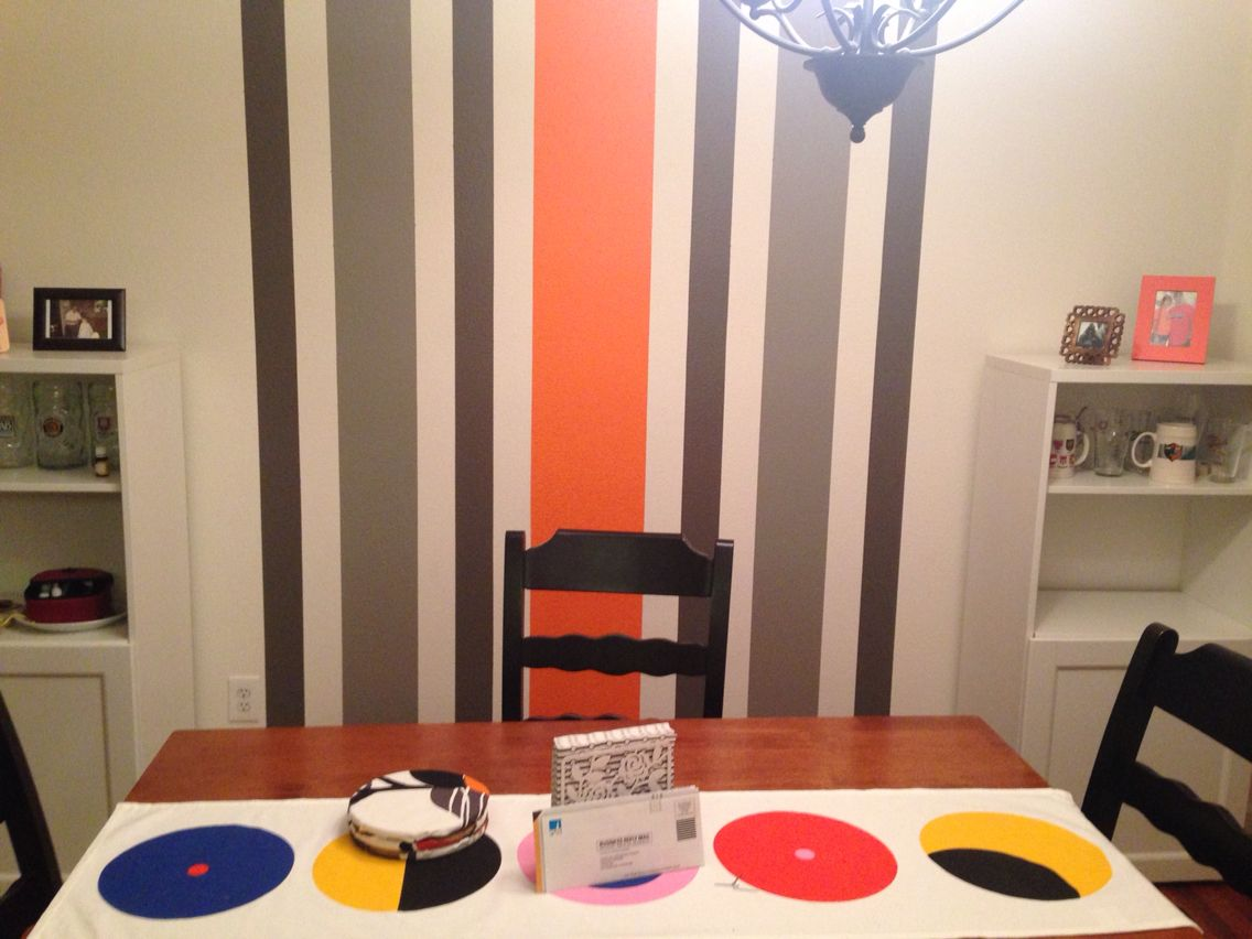 Finished striped wall in the dining room. So in love with it!!