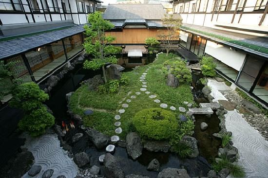 Japanese Courtyard Garden With Water And Stone Features Garden In