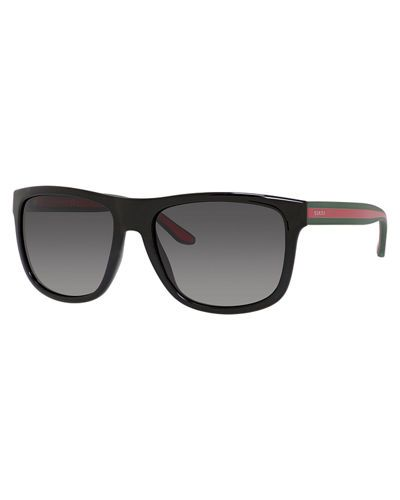 N3Z08 Gucci Injected Square-Frame Sunglasses