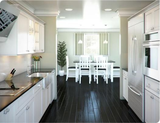 White galley kitchen designs with black flooring tile for Black and white galley kitchen