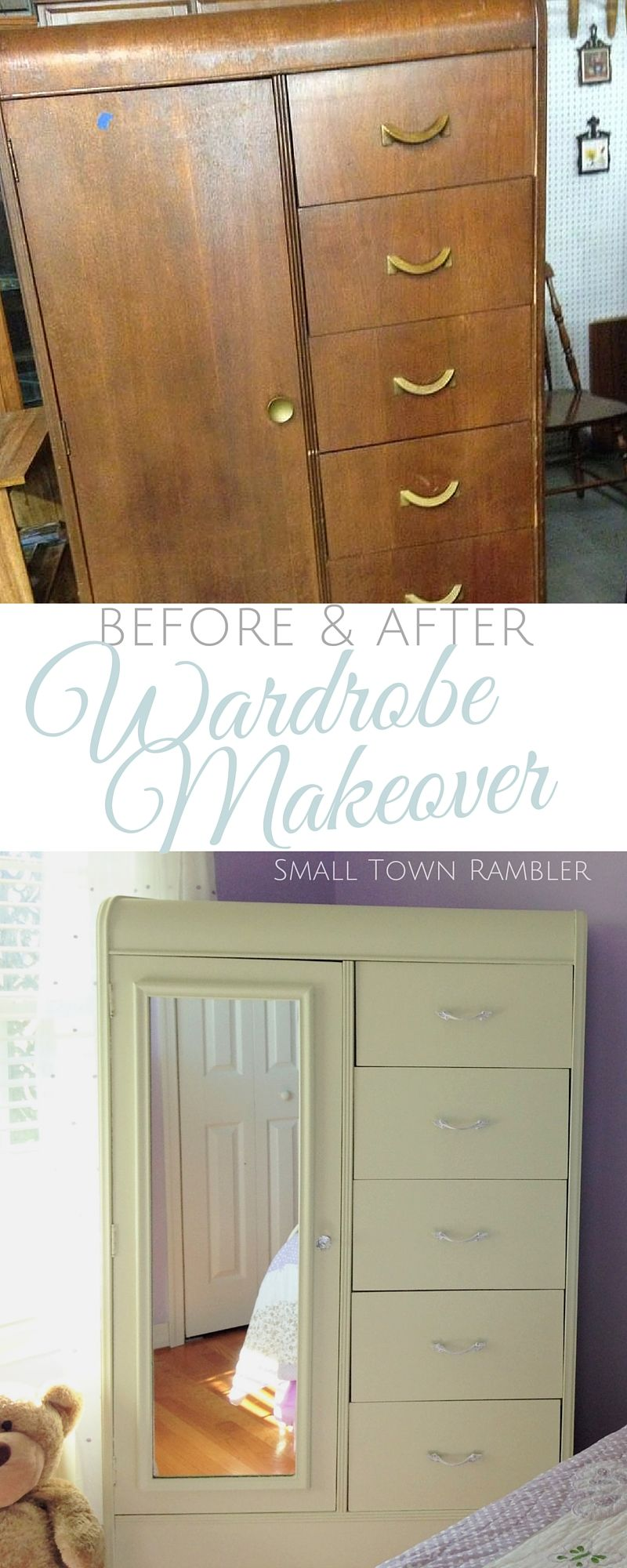 Painted furniture ideas before and after - Girl S Chifferobe Makeover Before And After