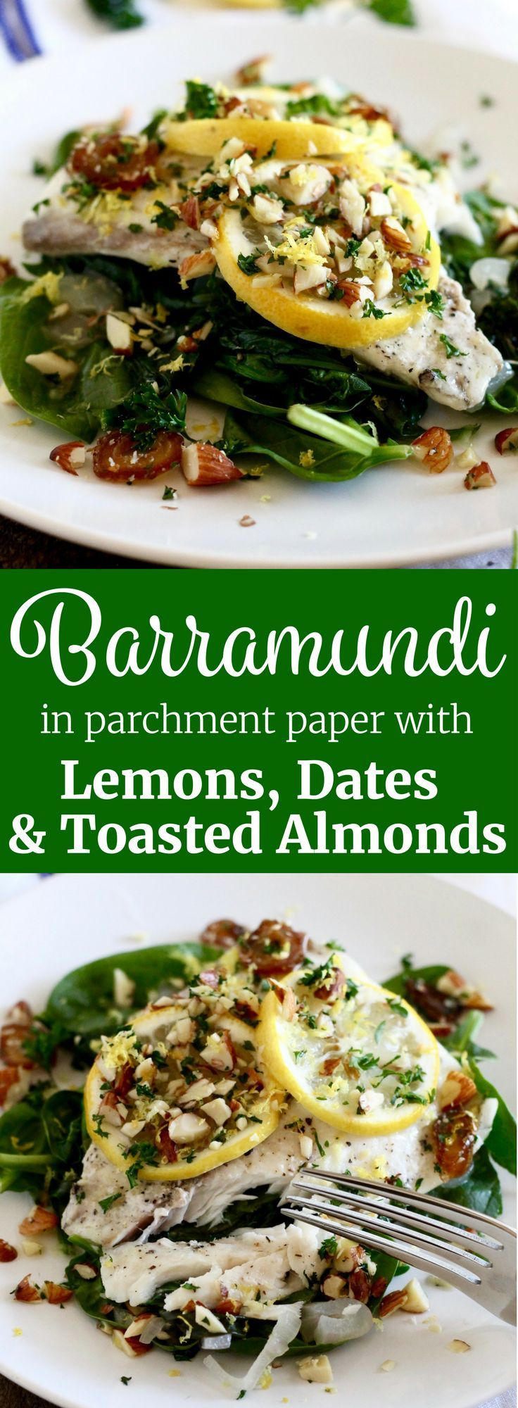 Photo of Barramundi in Parchment with Lemons, Dates & Almonds | Little Chef Big Appetite